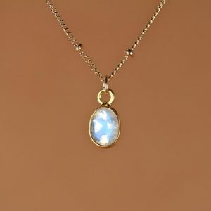 Shop Moonstone Necklaces! Moonstone Necklace – Minimalist – Everyday – Rainbow Moonstone – Blue Flash – A 22k Gold Lined Moonstone On 14k Gold Filled Satellite Chain | Natural genuine Moonstone necklaces. Buy crystal jewelry, handmade handcrafted artisan jewelry for women.  Unique handmade gift ideas. #jewelry #beadednecklaces #beadedjewelry #gift #shopping #handmadejewelry #fashion #style #product #necklaces #affiliate #ad