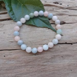 Blue pink pastel bracelet with Morganite /Chakra Healing stone bracelets anti depression anti anxiety Mom gift under 30 dollars | Natural genuine Morganite bracelets. Buy crystal jewelry, handmade handcrafted artisan jewelry for women.  Unique handmade gift ideas. #jewelry #beadedbracelets #beadedjewelry #gift #shopping #handmadejewelry #fashion #style #product #bracelets #affiliate #ad