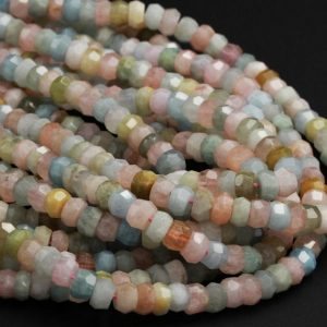 "Natural Aquamarine Morganite Beryl Rondelle Beads Multicolor Blue Green Pink 8mm Faceted 10mm Diamond Cut Gemstone Sharp Facets 16"" Strand 
