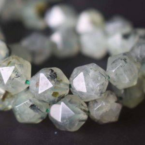 Shop Prehnite Chip & Nugget Beads! Natural Prehnite Faceted Star Cut Nugget Beads,6mm/8mm/10mm/12mm Prehnite Beads Bulk Suppply,15 inches one starand | Natural genuine chip Prehnite beads for beading and jewelry making.  #jewelry #beads #beadedjewelry #diyjewelry #jewelrymaking #beadstore #beading #affiliate #ad