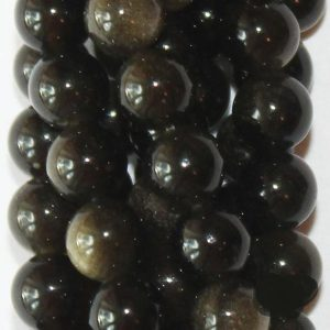 "Shop Obsidian Beads! Genuine Golden Black Obsidian Beads – Round 6 Mm Gemstone Beads – Full Strand 15 1 / 2"", 63 Beads, Aa Quality 
