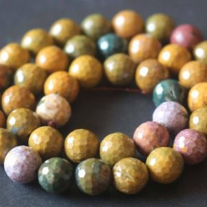 Natural 128 Faceted Ocean Jasper Beads,6mm/8mm/10mm/12mm Faceted Ocean Jasper Beads,15 inches one starand | Natural genuine faceted Ocean Jasper beads for beading and jewelry making.  #jewelry #beads #beadedjewelry #diyjewelry #jewelrymaking #beadstore #beading #affiliate #ad