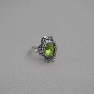 Natural Peridot Ring-Handmade Silver Ring-925 Sterling Silver Ring-Oval Peridot Designer Ring-Gift for her-Promise Ring-August Birthstone | Natural genuine Peridot rings, simple unique handcrafted gemstone rings. #rings #jewelry #shopping #gift #handmade #fashion #style #affiliate #ad