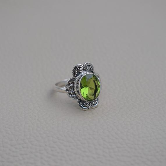 Natural Peridot Ring-handmade Silver Ring-925 Sterling Silver Ring-oval Peridot Designer Ring-gift For Her-promise Ring-august Birthstone