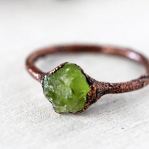 Shop Peridot Jewelry! Raw Peridot Ring – August Birthstone Jewelry – Copper Ring | Natural genuine Peridot jewelry. Buy crystal jewelry, handmade handcrafted artisan jewelry for women.  Unique handmade gift ideas. #jewelry #beadedjewelry #beadedjewelry #gift #shopping #handmadejewelry #fashion #style #product #jewelry #affiliate #ad