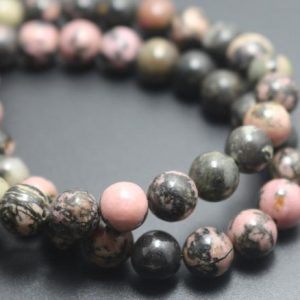 Rhodonite Beads,6mm/8mm/10mm/12mm Natural Smooth and Round Stone Beads,15 inches one starand | Natural genuine round Rhodonite beads for beading and jewelry making.  #jewelry #beads #beadedjewelry #diyjewelry #jewelrymaking #beadstore #beading #affiliate #ad