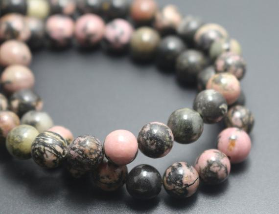Rhodonite Beads,6mm/8mm/10mm/12mm Natural Smooth And Round Stone Beads,15 Inches One Starand