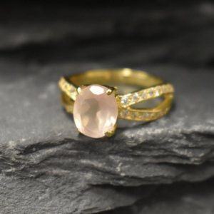 Shop Rose Quartz Rings! Gold Rose Quartz Ring, Natural Rose Quartz, Gold Engagement Ring, January Birthstone, Promise Ring, Vermeil Ring, Pink Stone Ring, Gold Ring | Natural genuine Rose Quartz rings, simple unique alternative gemstone engagement rings. #rings #jewelry #bridal #wedding #jewelryaccessories #engagementrings #weddingideas #affiliate #ad