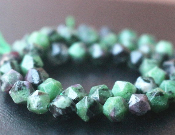 Ruby Zoisite Faceted Nugget Beads,6mm/8mm/10mm/12mm Faceted Ruby Zoisite Nugget Beads,15 Inches One Starand