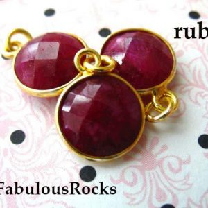 Shop Ruby Beads! Ruby Gemstone Pendants Charms / July Birthstone Jewelry Gem Pendant, Sterling Silver Or 24k Gold Plated Bezel / 14×11 Mm, Round Gcp6 Ll | Natural genuine beads Ruby beads for beading and jewelry making.  #jewelry #beads #beadedjewelry #diyjewelry #jewelrymaking #beadstore #beading #affiliate #ad