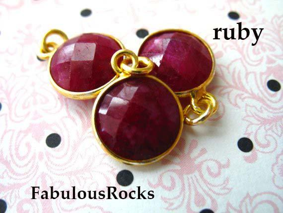 Ruby Gemstone Pendants Charms / July Birthstone Jewelry Gem Pendant, Sterling Silver Or 24k Gold Plated Bezel / 14x11 Mm, Round Gcp6 Ll