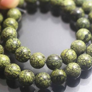 8mm Russian Serpentine Beads, Smooth and Round Stone Beads,15 inches one starand | Natural genuine round Serpentine beads for beading and jewelry making.  #jewelry #beads #beadedjewelry #diyjewelry #jewelrymaking #beadstore #beading #affiliate #ad