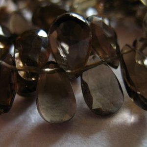 Shop Smoky Quartz Bead Shapes! SMOKY QUARTZ Pear Briolettes Beads, Luxe AAA,  9.5-10, Chocolate Brown, faceted..neutral brides bridal.. | Natural genuine other-shape Smoky Quartz beads for beading and jewelry making.  #jewelry #beads #beadedjewelry #diyjewelry #jewelrymaking #beadstore #beading #affiliate #ad