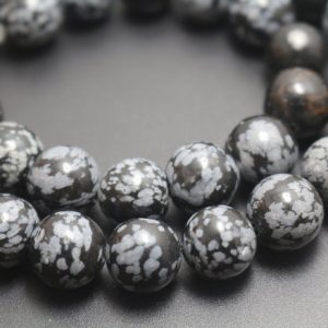 Shop Snowflake Obsidian Round Beads! Black Snowflake Obsidian Beads, 4mm / 6mm / 8mm / 10mm / 12mm Smooth And Round Stone Beads, 15 Inches One Starand | Natural genuine round Snowflake Obsidian beads for beading and jewelry making.  #jewelry #beads #beadedjewelry #diyjewelry #jewelrymaking #beadstore #beading #affiliate #ad