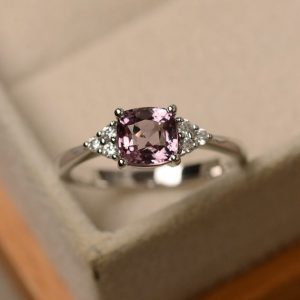 pink spinel ring for women,cushion cut gemstone ,sterling silver rings,engagement rings | Natural genuine Gemstone rings, simple unique alternative gemstone engagement rings. #rings #jewelry #bridal #wedding #jewelryaccessories #engagementrings #weddingideas #affiliate #ad