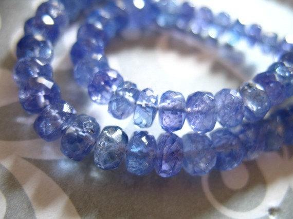 5-100 Pcs, Tanzanite Beads Rondelles, Luxe Aaa, 5-6 Mm, Faceted, Periwinkle Blue, December Birthstone Brides Bridal 56