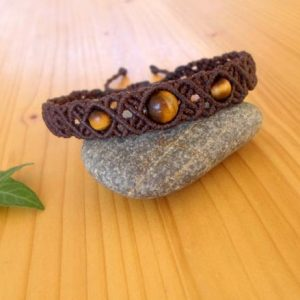 Macrame bracelet, tigers eye jewelry, gemstone bracelet, hippie jewelry, tigers eye bracelet, macrame jewelry, bracelet for men | Natural genuine Tiger Eye bracelets. Buy handcrafted artisan men's jewelry, gifts for men.  Unique handmade mens fashion accessories. #jewelry #beadedbracelets #beadedjewelry #shopping #gift #handmadejewelry #bracelets #affiliate #ad
