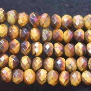 Shop Tiger Eye Faceted Beads! 5x8mm Yellow Tigereye Faceted Rondelle Beads, tigereye Wholesale Bulk Supply Beads, 15 Inches One Starand | Natural genuine faceted Tiger Eye beads for beading and jewelry making.  #jewelry #beads #beadedjewelry #diyjewelry #jewelrymaking #beadstore #beading #affiliate #ad
