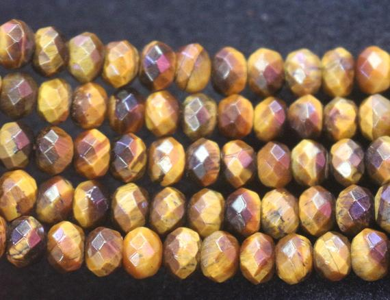 5x8mm Yellow Tigereye Faceted Rondelle Beads,tigereye Wholesale Bulk Supply Beads,15 Inches One Starand