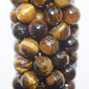 "Shop Tiger Eye Faceted Beads! Genuine Faceted Tiger eye Beads – Round 8 mm Gemstone Beads – Full Strand 15 1/2"", 46 beads, AA Quality 