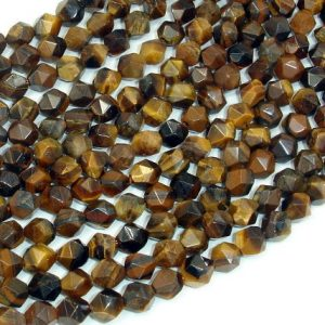 Shop Tiger Eye Faceted Beads! Tiger Eye, Round, 6mm, Star Cut Faceted Round, 15 Inch, Full strand, Approx 63 beads, Hole 1mm(426186001) | Natural genuine faceted Tiger Eye beads for beading and jewelry making.  #jewelry #beads #beadedjewelry #diyjewelry #jewelrymaking #beadstore #beading #affiliate #ad