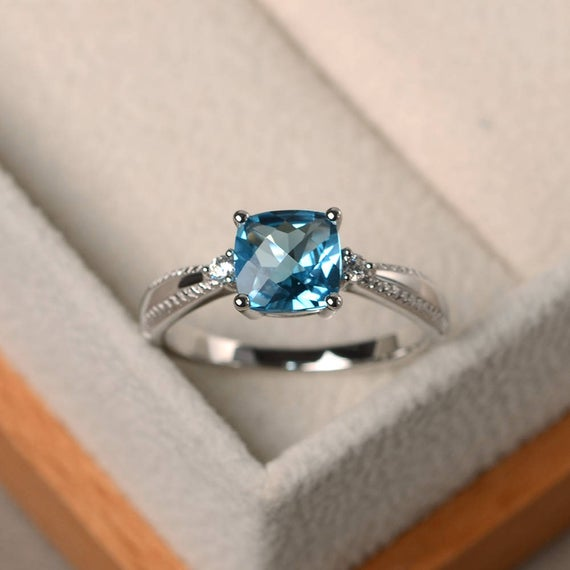 Unique Wedding Rings, Real Swiss Blue Topaz Rings, Solid Silver Rings