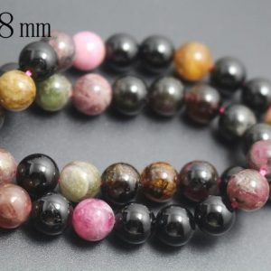 8mm Tourmaline Beads,Natural Smooth and Round Tourmaline Beads,15 inches one starand | Natural genuine round Tourmaline beads for beading and jewelry making.  #jewelry #beads #beadedjewelry #diyjewelry #jewelrymaking #beadstore #beading #affiliate #ad