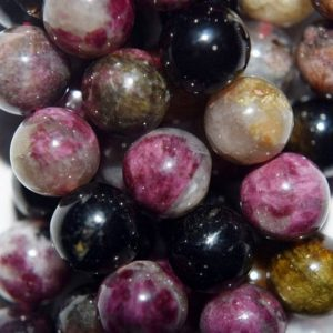 "Shop Tourmaline Round Beads! Genuine Tourmaline Round Beads 9 Mm – Full Strand 16"", 46 Beads, A Quality 