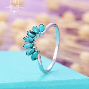 Shop Turquoise Rings! Vintage Turquoise Wedding Band, 14k White Gold Band, curved Marquise Cut Wedding Band For Women, Matching Ring, Bridal Ring Anniversary Gift | Natural genuine Turquoise rings, simple unique alternative gemstone engagement rings. #rings #jewelry #bridal #wedding #jewelryaccessories #engagementrings #weddingideas #affiliate #ad