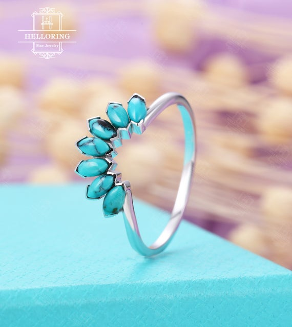 Vintage Turquoise Wedding Band, White Gold Band,curved Marquise Cut Engagement Band, Matching Stacking Band, Bridal Ring Anniversary Band
