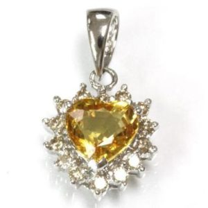 Shop Yellow Sapphire Pendants! 0.9 ctw Natural Yellow Sapphire & Diamond Heart Pendant / Solid 14k Gold / Drop Pendant 16 mm / September Birthstone / Valentine's Day Gift | Natural genuine Yellow Sapphire pendants. Buy crystal jewelry, handmade handcrafted artisan jewelry for women.  Unique handmade gift ideas. #jewelry #beadedpendants #beadedjewelry #gift #shopping #handmadejewelry #fashion #style #product #pendants #affiliate #ad