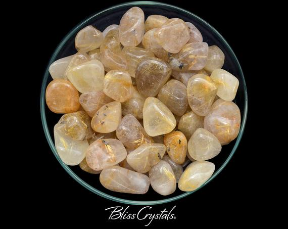 1 Large Gold Rutilated Quartz Tumbled Stone For Positive Action #gq09