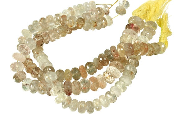 10 In Strand 10-14 Mm Rutilated Quartz Rondelle Faceted Graduated Gemstone Beads (ruqrlf0010)