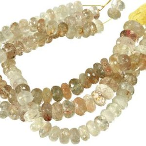 10 IN Strand 9-10 mm Rutilated Quartz Rondelle Faceted Gemstone Beads (RUQRLF0009) | Natural genuine rondelle Rutilated Quartz beads for beading and jewelry making.  #jewelry #beads #beadedjewelry #diyjewelry #jewelrymaking #beadstore #beading #affiliate #ad