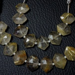 Shop Rutilated Quartz Faceted Beads! 10 pieces Five Perfectly Matched Pairs AAA Grade Golden RUTILATED QUARTZ Faceted Center Drill Hexagon Briolette Beads, Size 10×15 mm | Natural genuine faceted Rutilated Quartz beads for beading and jewelry making.  #jewelry #beads #beadedjewelry #diyjewelry #jewelrymaking #beadstore #beading #affiliate #ad