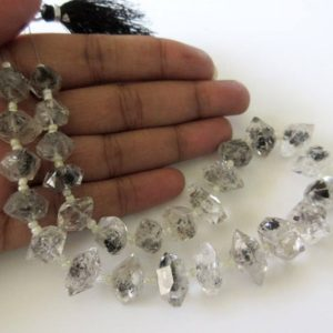 Shop Gemstone Chip & Nugget Beads! 12mm To 13mm Centre Side Drilled Herkimer Diamond Nugget, Raw Herkimer Diamond Tumble Beads, 12 Inch Strand, GDS744 | Natural genuine chip Gemstone beads for beading and jewelry making.  #jewelry #beads #beadedjewelry #diyjewelry #jewelrymaking #beadstore #beading #affiliate #ad