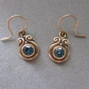 14Kt Solid Gold Blue Zircon Swirl Earrings | Natural genuine Zircon earrings. Buy crystal jewelry, handmade handcrafted artisan jewelry for women.  Unique handmade gift ideas. #jewelry #beadedearrings #beadedjewelry #gift #shopping #handmadejewelry #fashion #style #product #earrings #affiliate #ad