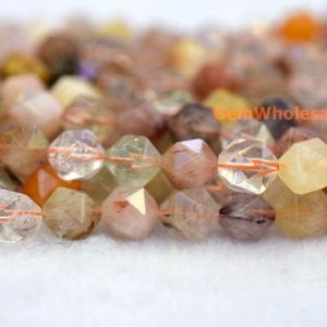 "15.5"" 6mm/8mm Natural multi color rutilated quartz star faceted beads,mix color DIY gemstone beads, semi precious stone 