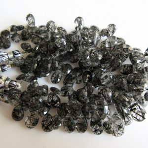 Shop Rutilated Quartz Bead Shapes! 3 Strands Black Rutilated Quartz Pear Bead, Briolette Beads, Faceted Beads, 15mm To 9mm Each, 8 Inch Strand, SKU-RQ3 | Natural genuine other-shape Rutilated Quartz beads for beading and jewelry making.  #jewelry #beads #beadedjewelry #diyjewelry #jewelrymaking #beadstore #beading #affiliate #ad