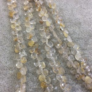 "Shop Rutilated Quartz Bead Shapes! 4mm Faceted Natural Golden Rutilated Quartz Heart/Teardrop Shaped Beads – Sold by 6"" Strands (Approx. 54 Beads) – Hand-Cut Indian Gemstone 