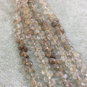 "Shop Rutilated Quartz Faceted Beads! 4mm Faceted Natural Red Rutilated Quartz Heart/Teardrop Shaped Beads – Sold by 6"" Strands (Approx. 54 Beads) – Hand-Cut Indian Gemstone 
