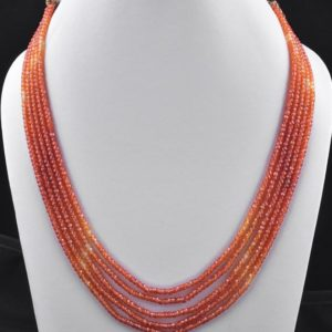 Shop Zircon Necklaces! 5 Strands AAA Quality Orange Shaded Zircon Faceted Rondelles Ready To Wear Necklace – Zircon Rondelles Bead 3mm – CZ Rondelle Beads Necklace | Natural genuine Zircon necklaces. Buy crystal jewelry, handmade handcrafted artisan jewelry for women.  Unique handmade gift ideas. #jewelry #beadednecklaces #beadedjewelry #gift #shopping #handmadejewelry #fashion #style #product #necklaces #affiliate #ad