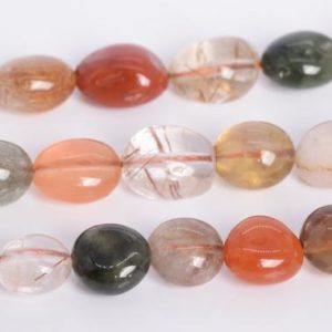"""Shop Rutilated Quartz Chip & Nugget Beads! 8-10MM Multicolor Rutilated Quartz Beads Pebble Nugget Grade AA Genuine Natural Gemstone Loose Beads 16"""" /7.5""""Bulk Lot Options (108550) 