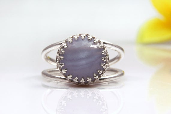 Lace Agate Ring, Sterling Silver Ring, Gemstone Ring, Lace Ring, Agate Stone Ring, Delicate Ring, Small Ring, Birthday Gift