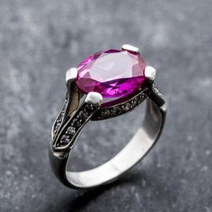 Shop Alexandrite Rings! Alexandrite Ring, Created Alexandrite, Large Alexandrite Ring, Large Vintage Ring, Large Pink Ring, Vintage Rings, Solid Silver, Alexandrite | Natural genuine Alexandrite rings, simple unique handcrafted gemstone rings. #rings #jewelry #shopping #gift #handmade #fashion #style #affiliate #ad