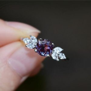Shop Alexandrite Rings! Solid 14k Gold Alexandrite Ring Alexandrite Engagement Ring Wedding Ring Promise Ring Anniversary Ring | Natural genuine Alexandrite rings, simple unique alternative gemstone engagement rings. #rings #jewelry #bridal #wedding #jewelryaccessories #engagementrings #weddingideas #affiliate #ad