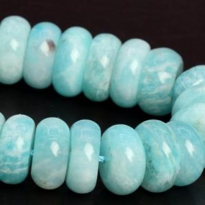 "Shop Amazonite Rondelle Beads! 10-11x4MM Genuine Natural Blue Green Amazonite Beads Grade AA Gemstone Half Strand Rondelle Loose Beads 7.5"" Bulk Lot Options (107899h-2587) 
