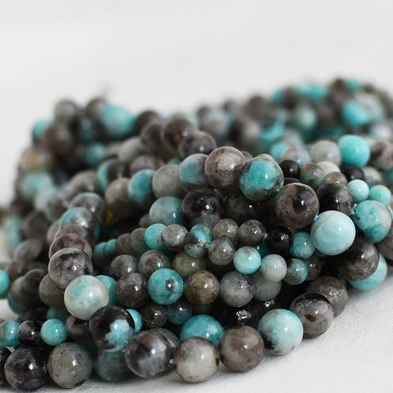 """High Quality Grade A Natural Black Line Amazonite Semi-precious Gemstone Round Beads - 4mm, 6mm, 8mm, 10mm Sizes - Approx 16"""" Strand"""