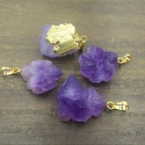 Shop Amethyst Beads! 3-10pcs Wholesale Amethyst Nugget Pendant Purple Amethyst Quartz Pendant Gold plated Gemstone amethyst Geode pendant Charms | Natural genuine beads Amethyst beads for beading and jewelry making.  #jewelry #beads #beadedjewelry #diyjewelry #jewelrymaking #beadstore #beading #affiliate #ad
