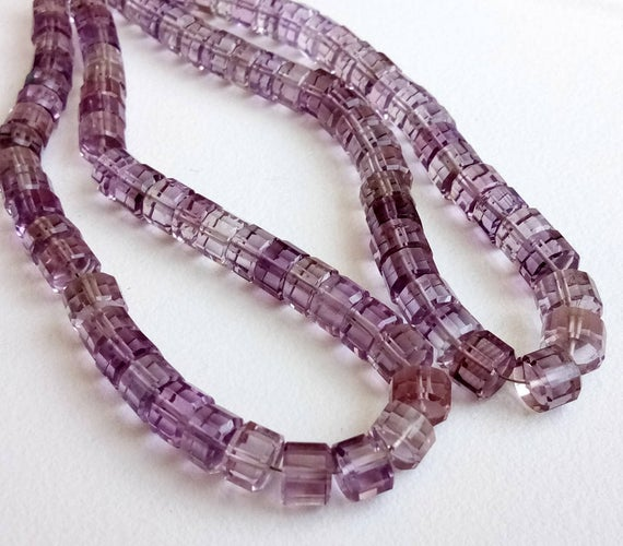 4 Inch Rare Amethyst Faceted Fancy Cut Tyre, 5.5-7mm Natural Amethyst Beads, Designer Amethyst Necklace, Statement Necklace - Pusdg1